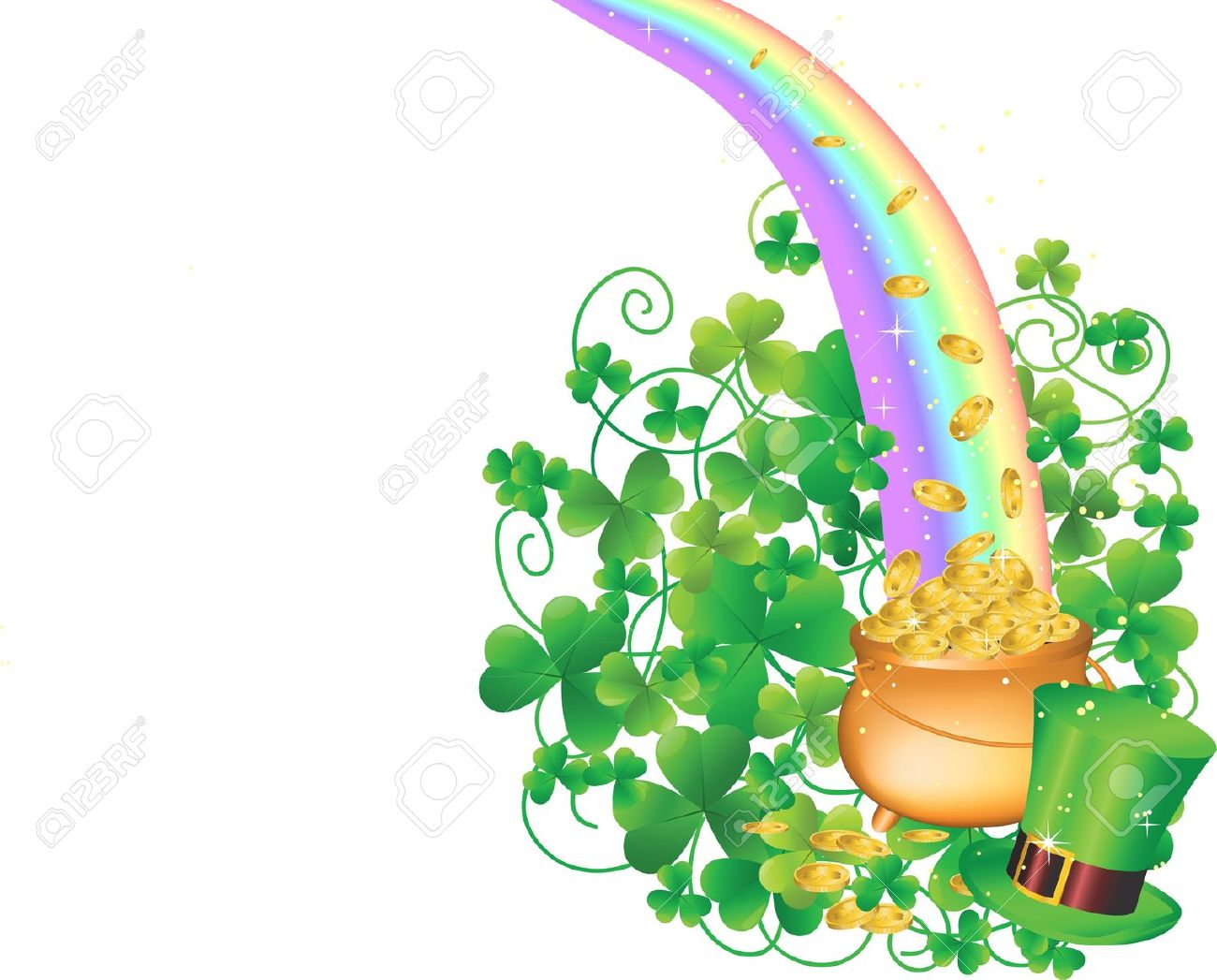 Green Pot Of Gold Clipart Green plant rainbow cl...