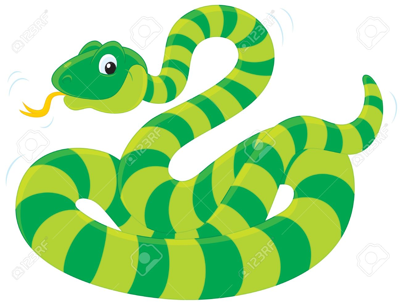 Green Striped Snake Royalty Free Cliparts, Vectors, And Stock.