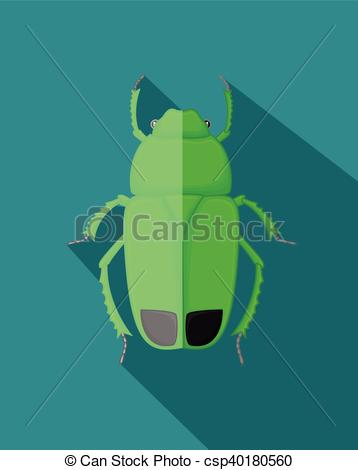 Clip Art Vector of Green Poisonous Beetle Insect Vector.