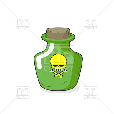 Green bottle with a skull, poisonous liquid Vector Image #128801.