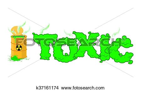 Clipart of Toxic text. Poisonous green fumes. Open barrel with.
