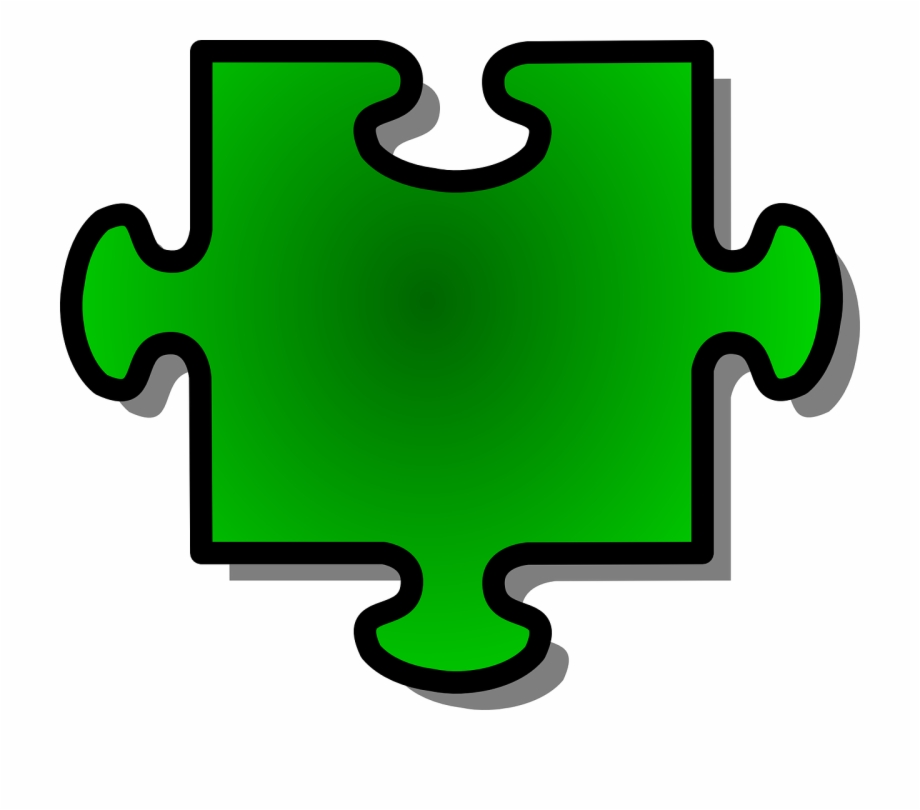 Jigsaw Puzzle Piece Shape Green Png Image.