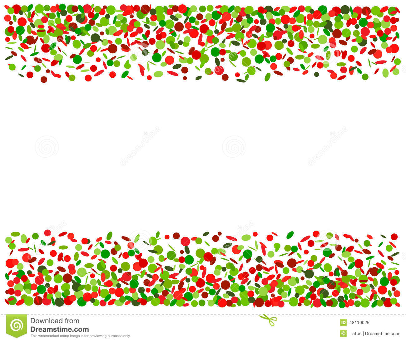 Red and green confetti clipart vector.