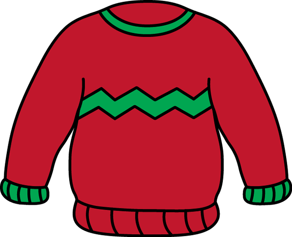 Red and Green Sweater Clip Art.