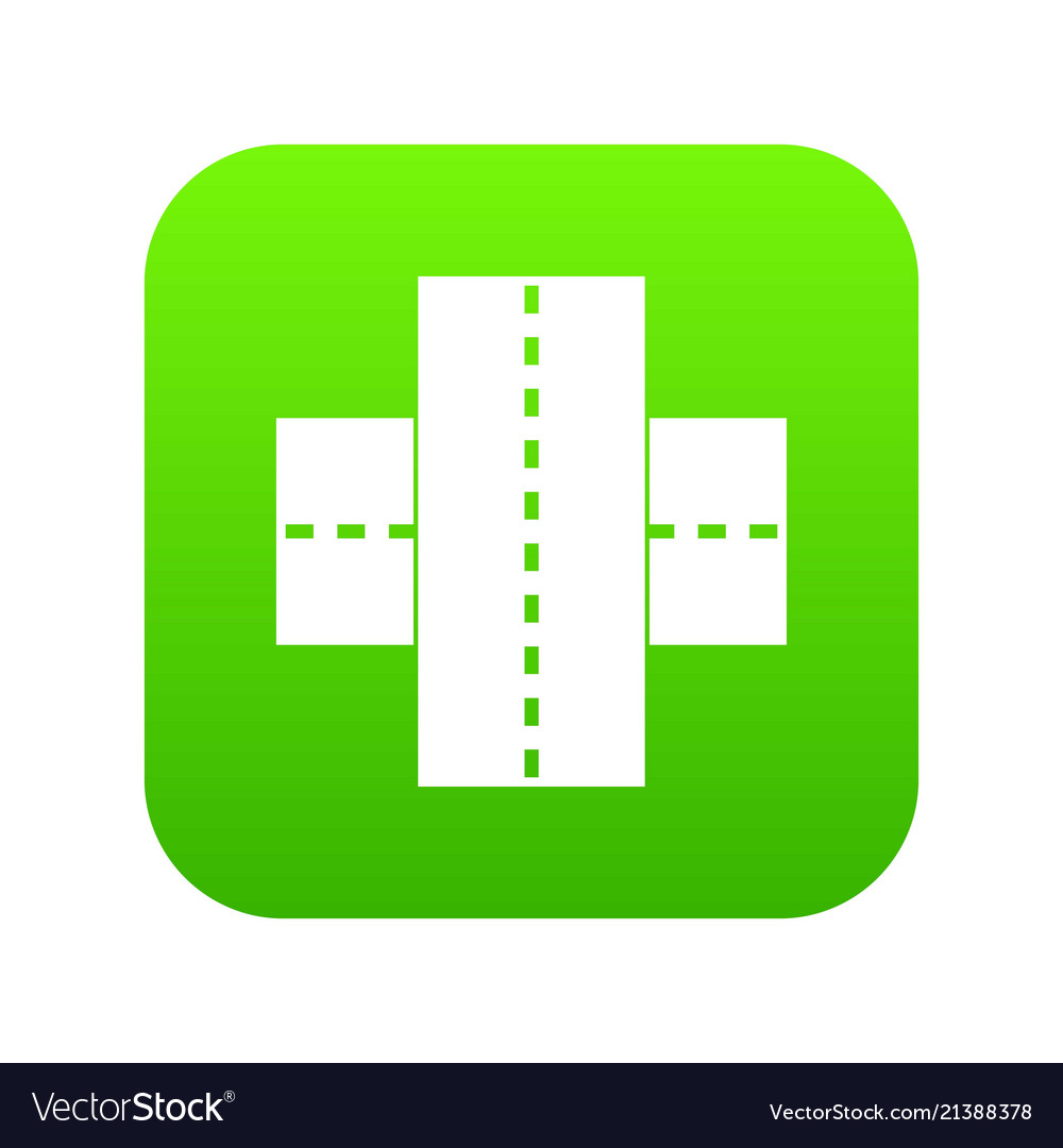 Two roads icon digital green.