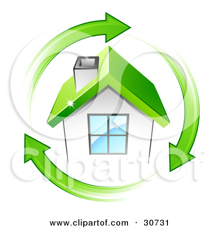 Clipart Illustration of a Circle Of Green Arrows Around A Small.