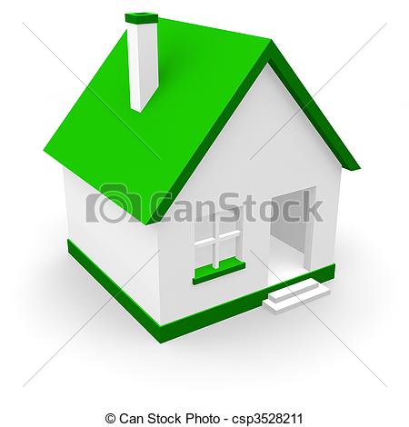 Clipart of House with green roof csp3528211.
