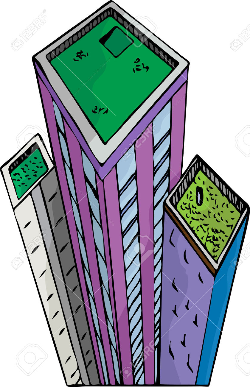 Green Roof Gardens On Top Of Tall City Buildings. Royalty Free.