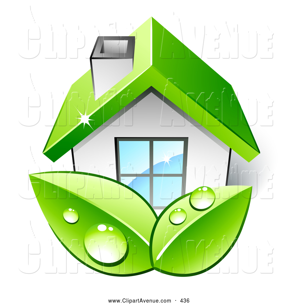 Avenue Clipart of a House with a Green Roof by beboy.