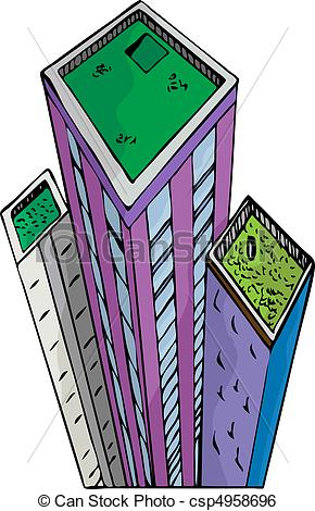 Clip Art Vector of Garden Towers.