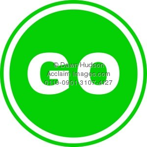 Clipart Illustration of a Round Green Go Sign.