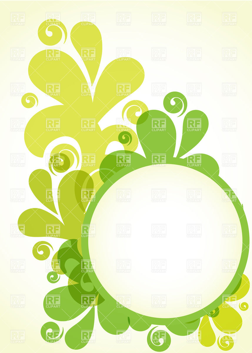 Green round frame with splash decorations Vector Image #23417.