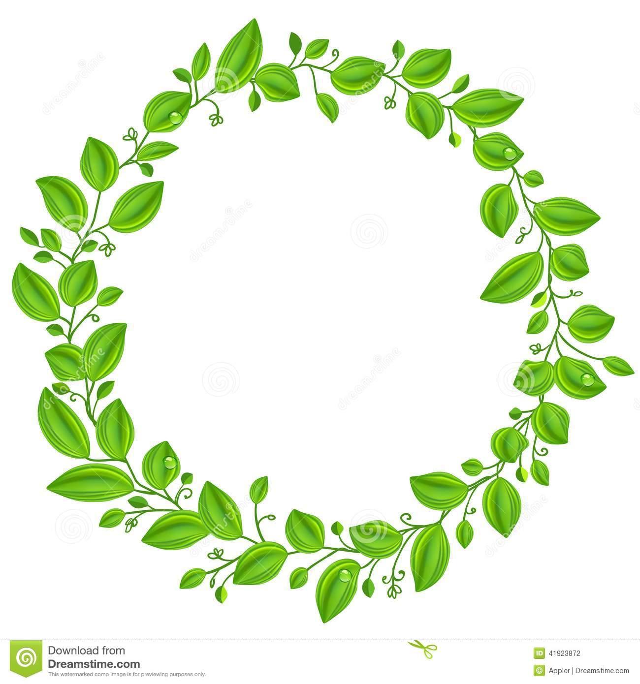 Green circle leaf clipart.