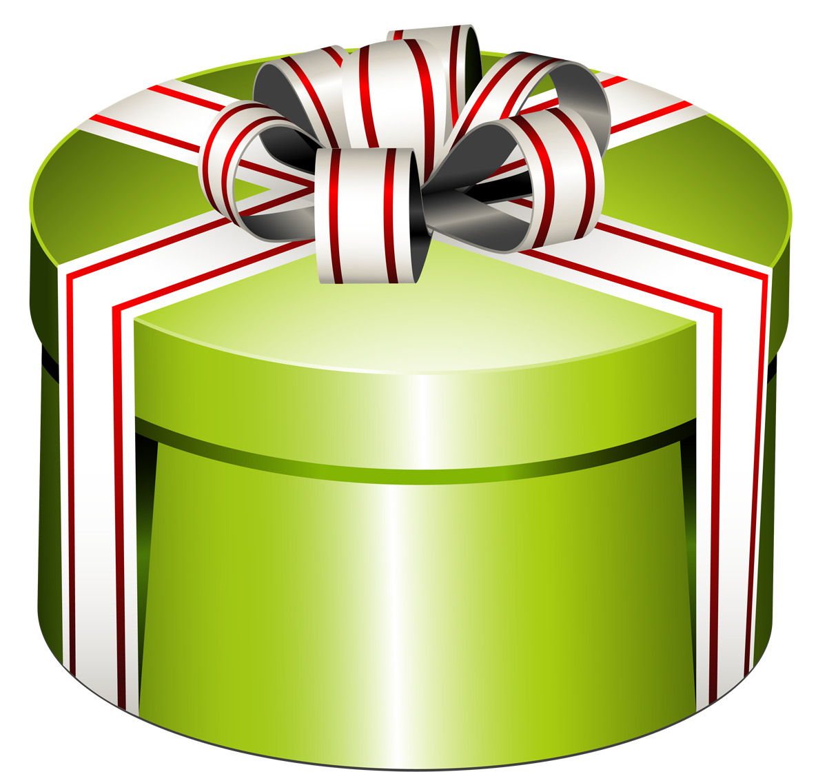 Green Round Present Box with Bow PNG Clipart.