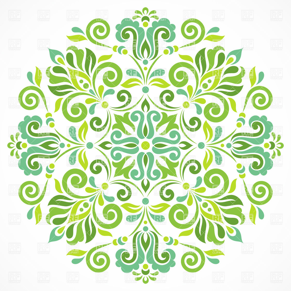 Green round graphic ornament Vector Image #28841.
