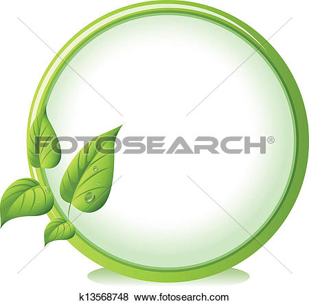 Clip Art of A round border with four green leaves k13568748.