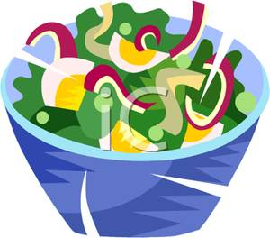 Art Image: A Blue Bowl Full of a Green Salad.