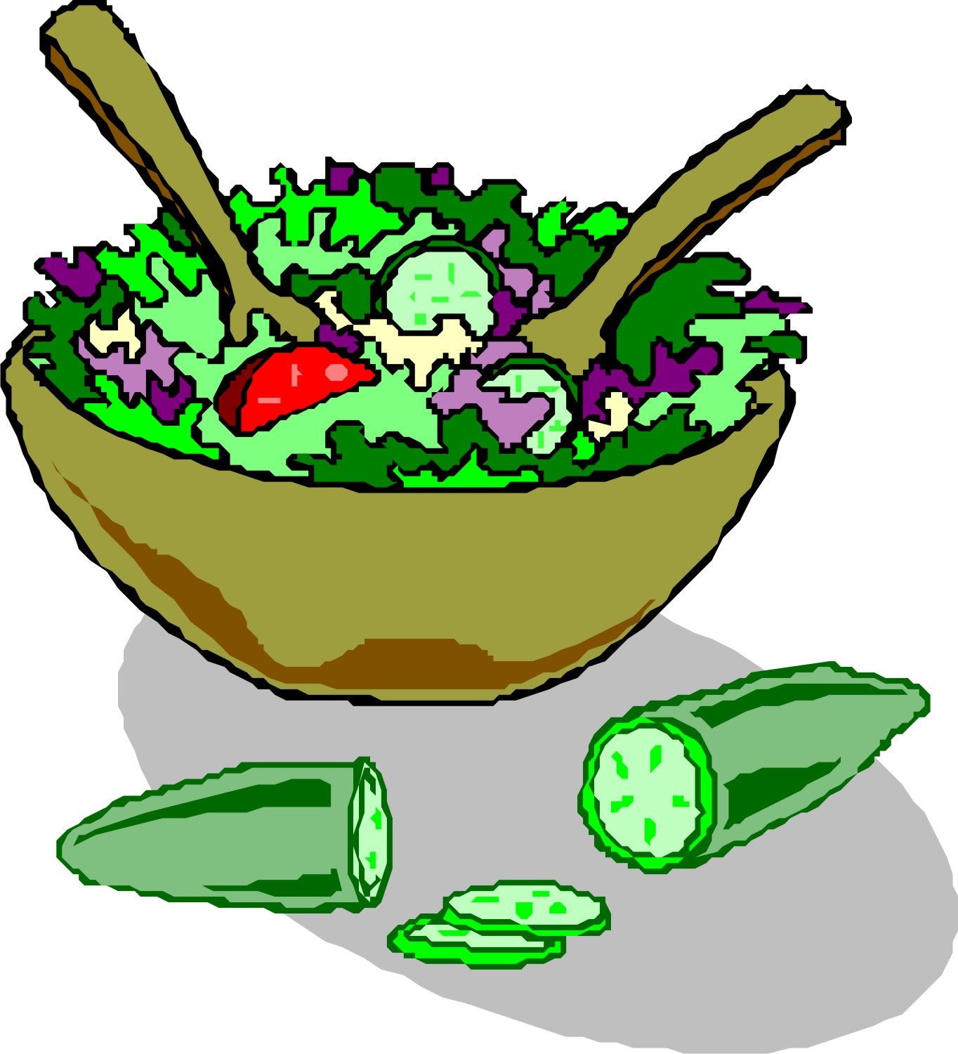 Green Salad Cartoon Clipart.