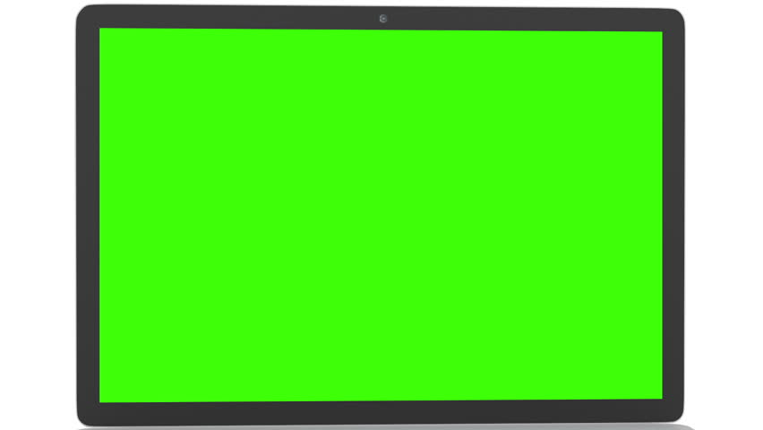 Isolated Laptop with Green Screen Stock Footage Video (100% Royalty.