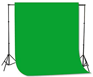 Fancierstudio Green Screen Background Stand Backdrop Support System Kit  with 6ft x 9ft Chromakey Green Muslin Backdrop by Fancierstudio H804 6x9G.