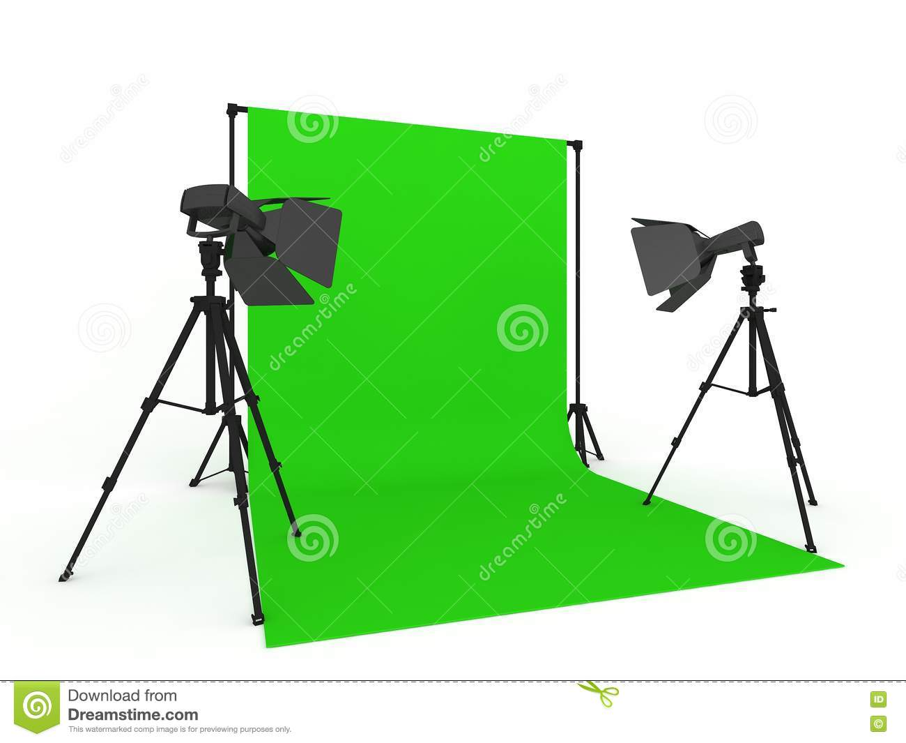 Photo Studio With Green Screen Stock Illustration.