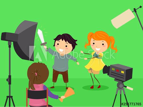 Stickman Kids Green Screen Filming Illustration.