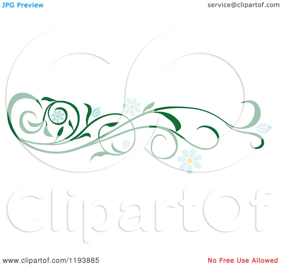 Clipart of a Green Scrolling Vine with Blue Daisy Flowers.