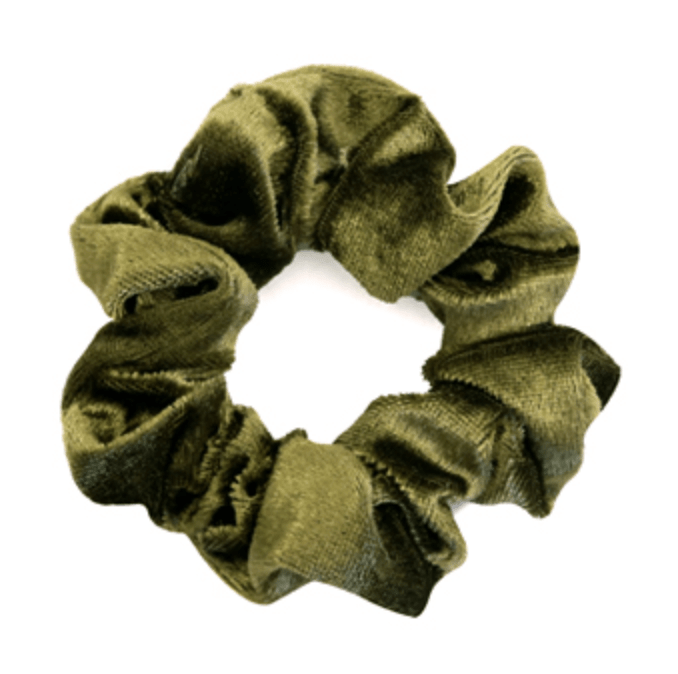 Velvet Moss Green Scrunchie.