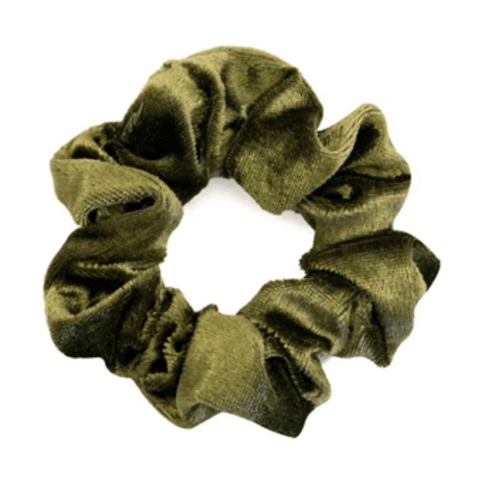 Velvet Moss Green Scrunchie.