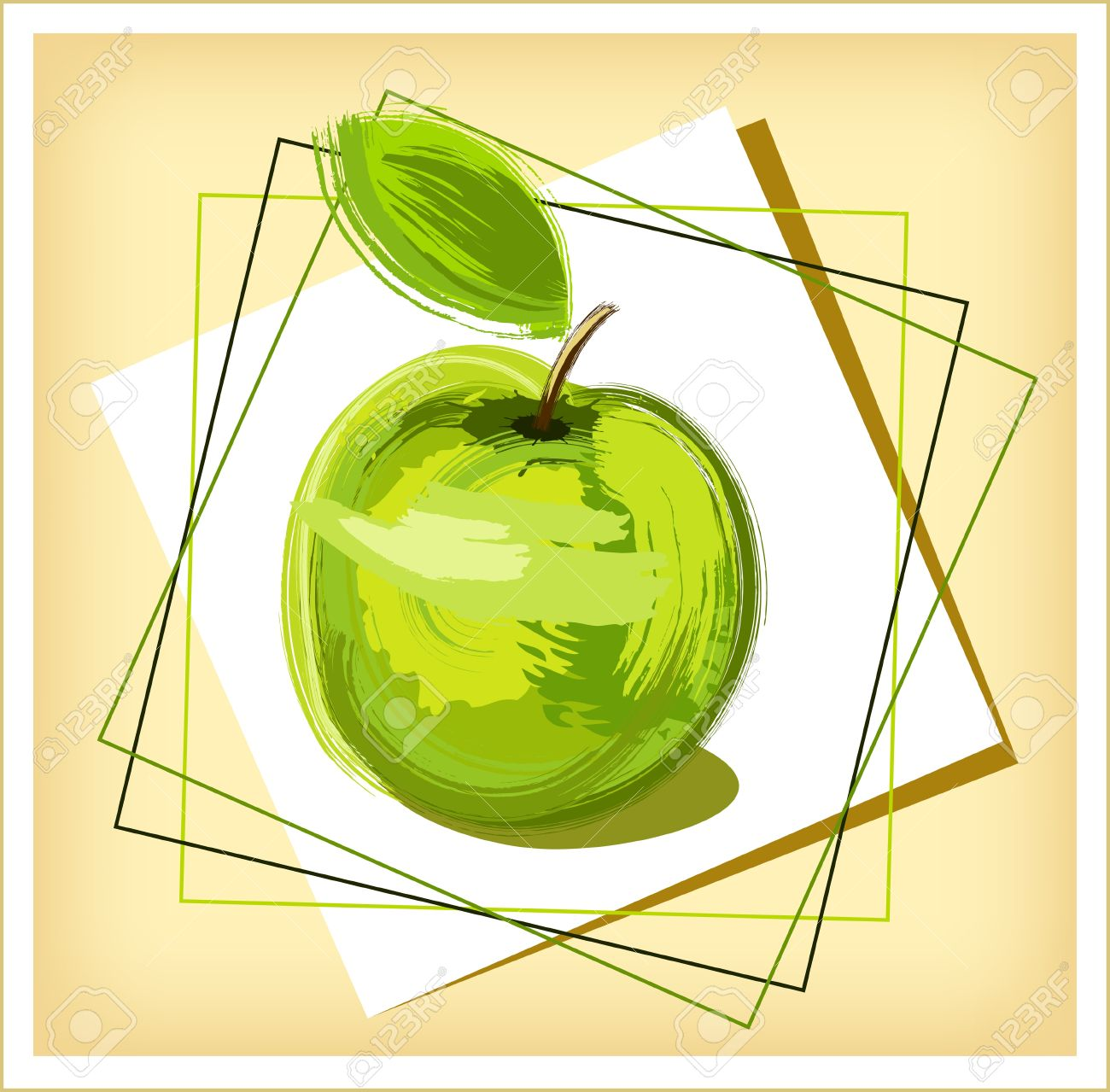 Green Drawing Apple With Green Sheet.