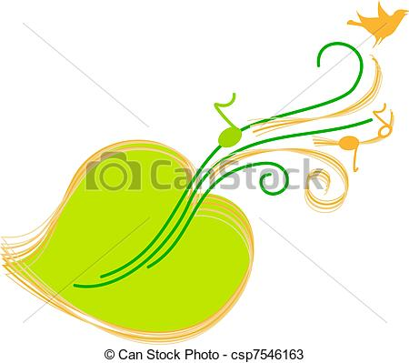Vectors of green sheet music, guitar, bird csp7546163.