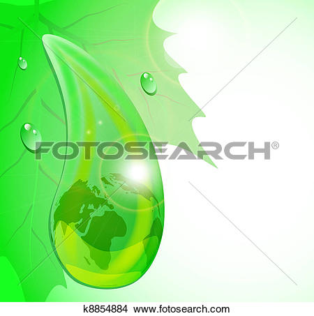Clipart of Drop of dew with mother Earth reflection on green sheet.