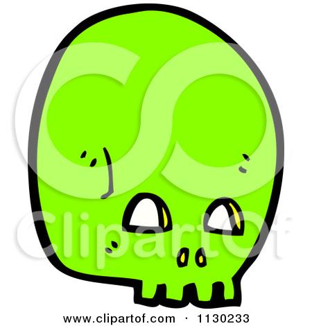 Cartoon Of A Green Skull 2.