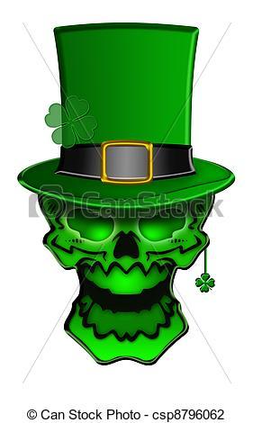 Clip Art of St Patricks Day Green Skull with Shamrock Leaf.