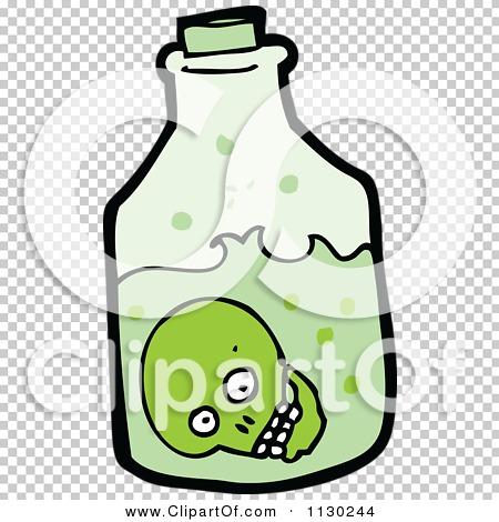Cartoon Of A Green Skull In A Bottle.