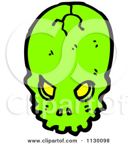 Cartoon Of A Green Skull With Slime 1.
