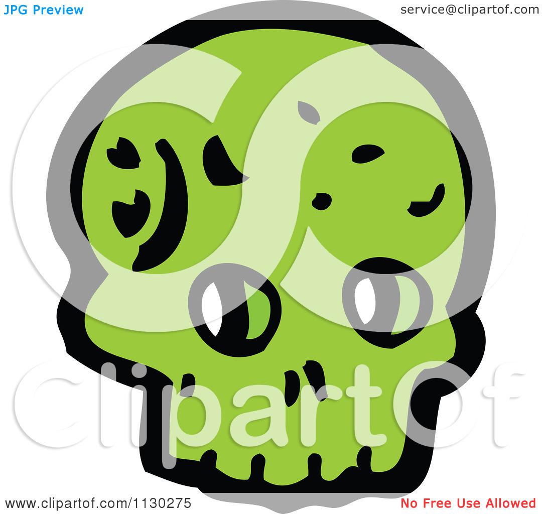 Cartoon Of A Green Skull 13.