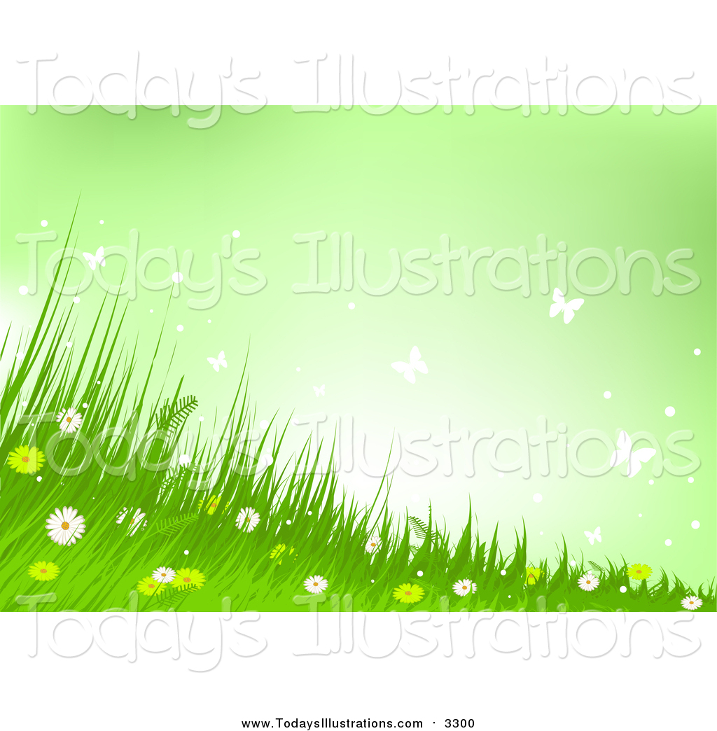 Clipart of a Background of Wild Flowers, Grass and Butterflies and.
