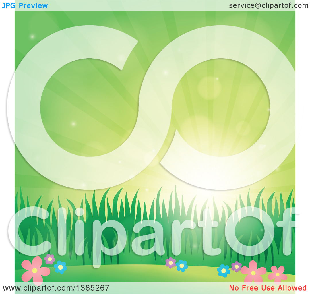 Clipart of a Spring Background of Flowers, Grass and Sunshine in a.