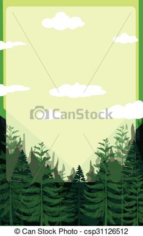 Vector Clip Art of Pine forest with green sky illustration.