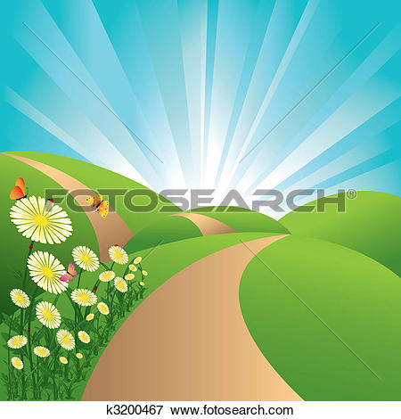 Clipart of Green Field And Sunrise Sky k6317923.