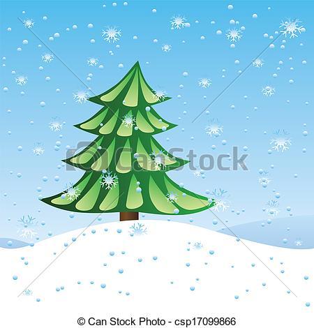 Clip Art Vector of Green fir tree on slope.