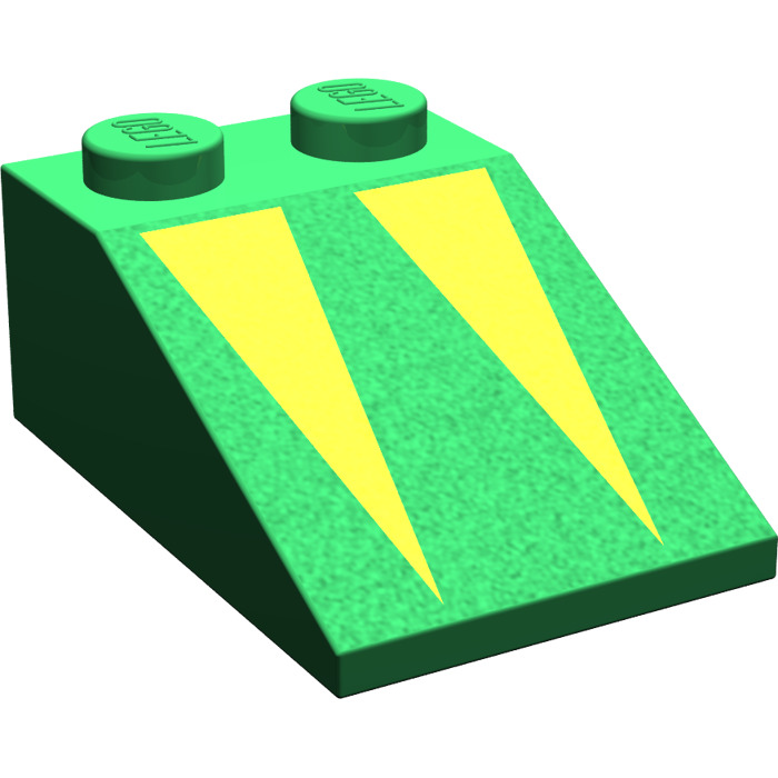 LEGO Green Slope 33° 3 x 2 with Yellow Triangles with Rough.