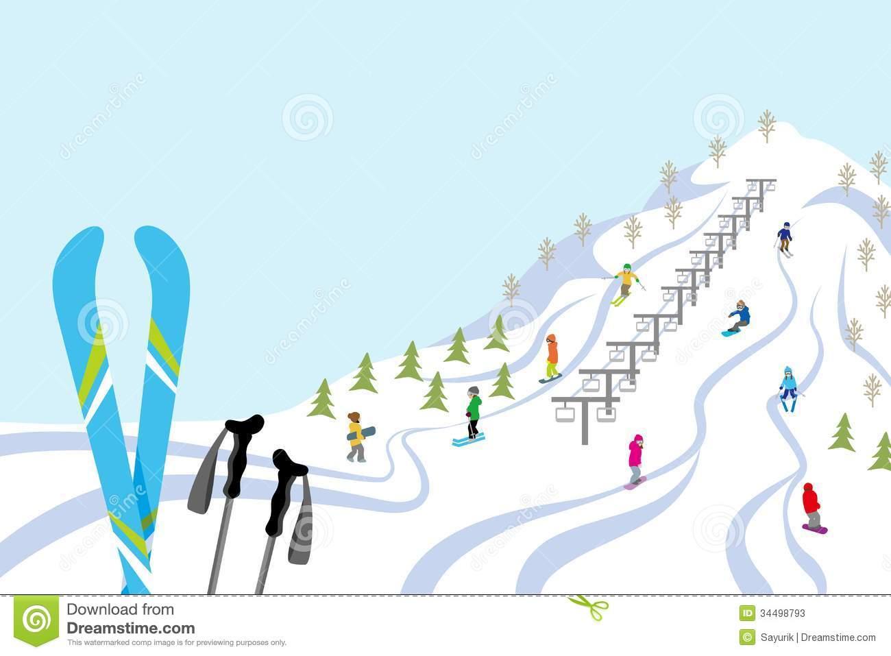 Ski slope clipart free.