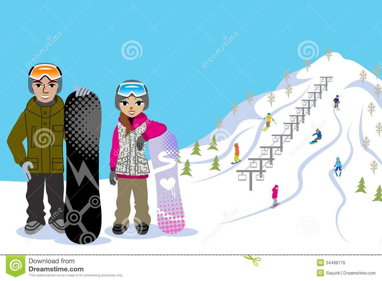 Ski slopes clipart.