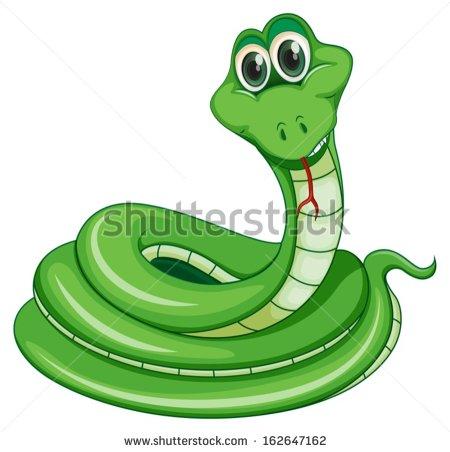 Illustration Green Snake On White Background Stock Vector.