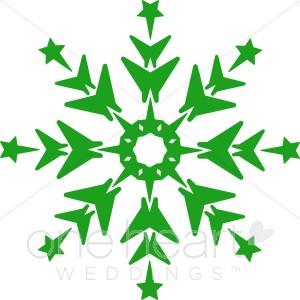 Green Snowflake Clip Art.