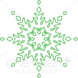 Clipart Green Snowflake.