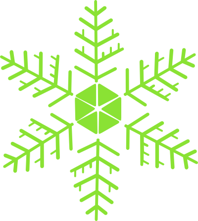 Green Snowflake Clipart Transparent Background.