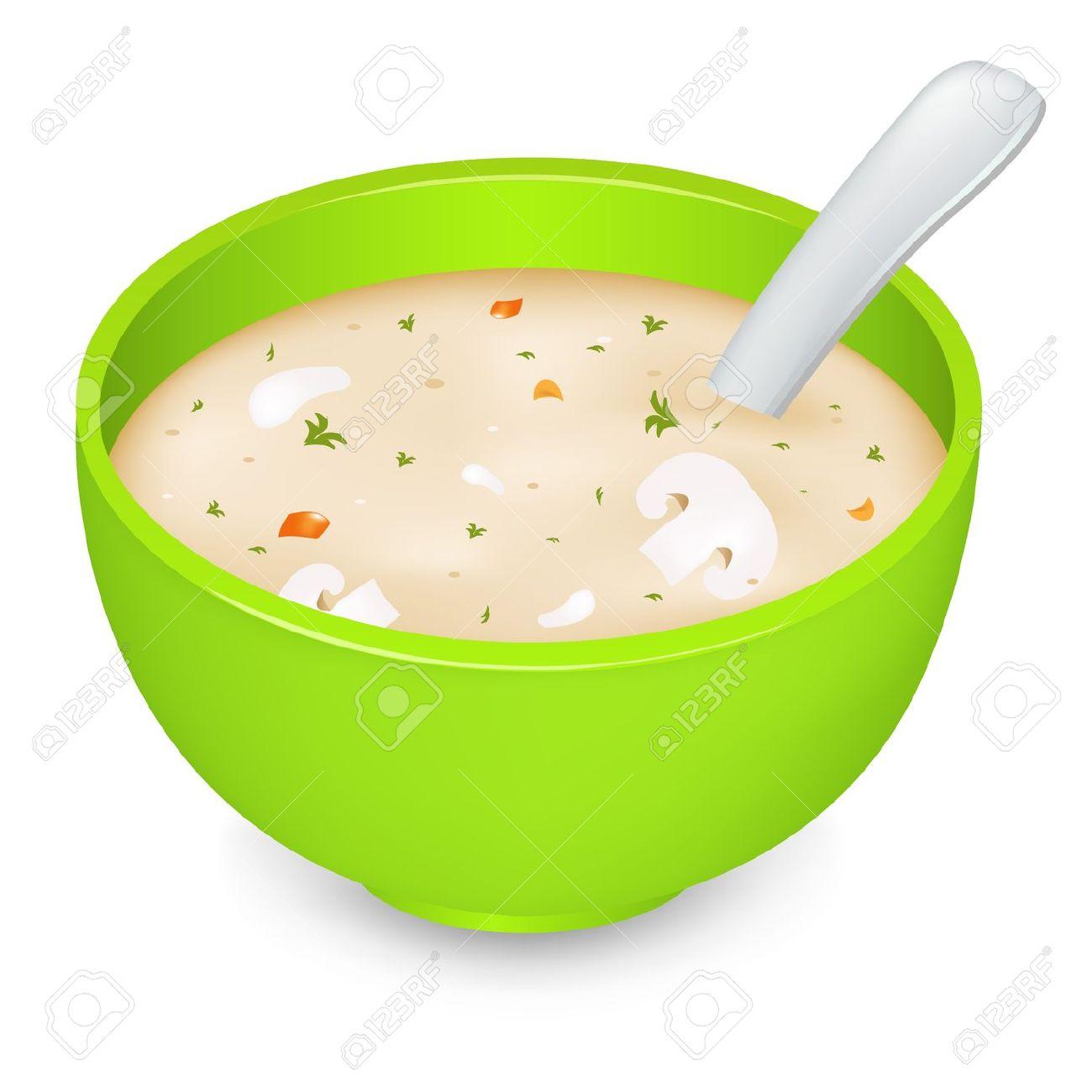 Green Soup Bowl Clip Art.